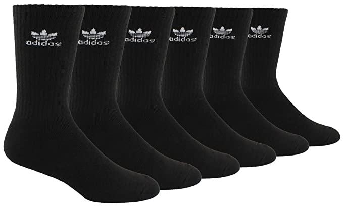 39942ab33ea5e adidas Men's Originals Trefoil Cushioned Crew Socks (6-Pack), Black, Size