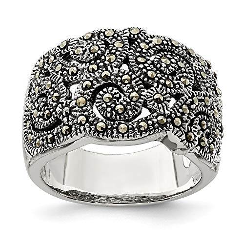 925 Sterling Silver Marcasite Band Ring Size 8.00 Fine Jewelry Gifts For Women For ()