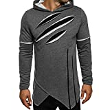 Autumn Warm Long Sleeve Hoodie Men's Jacket Coat Outwear Casual Tops Hooded Sweatshirt Tops (Gray, L)