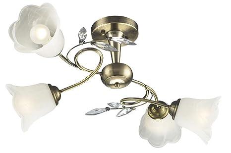 Plafoniera Ottone Vetro : Plafoniera ottone vetro illuminazione lampada salotto luce esto