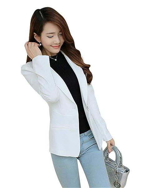 e1fa5cc618b19 Blazer Mujer Elegantes Color Sólido Camisa Primavera Otoño Cazadoras  Modernas Casual Casual Clásico Moda Manga Larga De Solapa con Bolsillos  Slim Fit ...