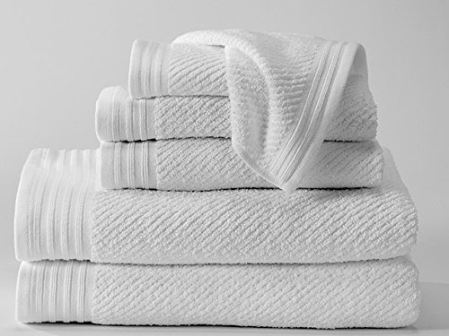 Diagonal Piqué Towel Set, 100% Combed Cotton, Includes 2 Bath Towels, 2 Hand Towels, and 2 Washcoths -White with Elegant Trim Border