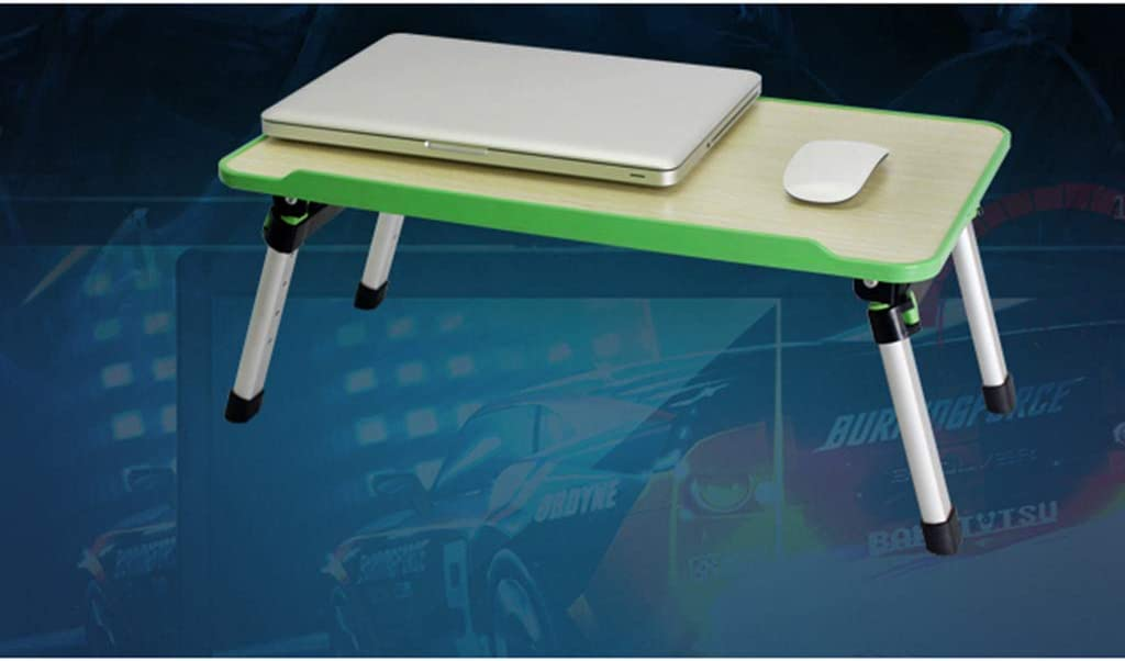 MEI Computer armoires Foldable Laptop Desk Adjustable Height Bed Table Portable Sofa Tray Outdoor Camping Table Lightweight Mini Picnic Table,52x 30x 24-32cm Color : Green