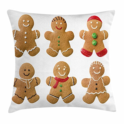 Gingerbread Man Throw Pillow Cushion Cover by Ambesonne, Vivid Homemade Biscuits Sugary Xmas Treats Sweet Tasty Pastry, Decorative Square Accent Pillow Case, 18 X 18 Inches, Light Brown Red Green