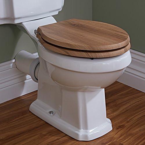 Scarico Orizzontale, Ceramica Bianca, Retro Hudson Reed Sanitario WC Tradizionale a Terra con Vaso Cassetta e Sedile con Finitura in Legno di Noce