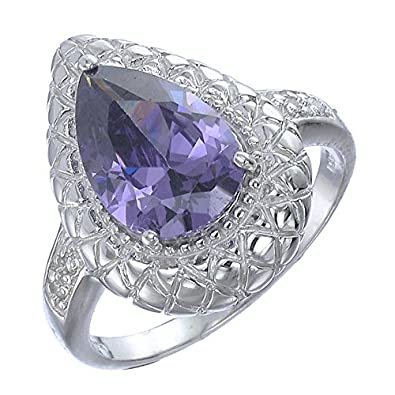 Vir Jewels Sterling Silver Purple and White CZ Pear Shape Ring Antique Look