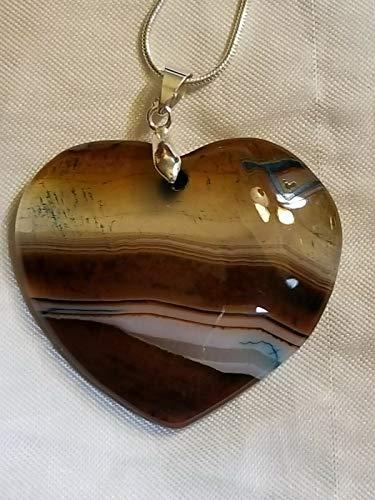 - Coffee Stripes Onyx Agate Heart Pendant Bead Love Valentine's US-542