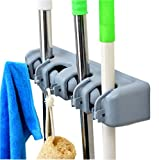 DGBC Wall Mounted Mop and Broom Holder, 4 position with 5 hooks garage storage Holds up to 9 Tools,Effortless Installation (Screws Included). (4 position 5 hooks)