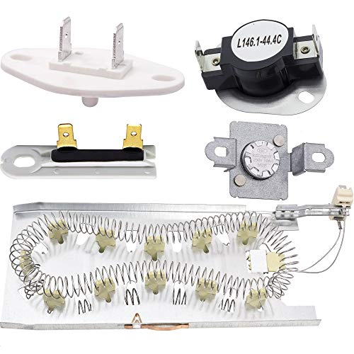 3387747 & 279973 & 3392519 & 8577274 Dryer Heating Element and Thermal Cut-off Fuse Kit Replacement by Blue Stars - Exact Fit For Whirlpool & Kenmore Dryers (Kenmore Dryer Not Heating And Timer Not Working)