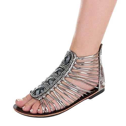 Ital-Design - Sandalias Romanas Mujer gris plateado
