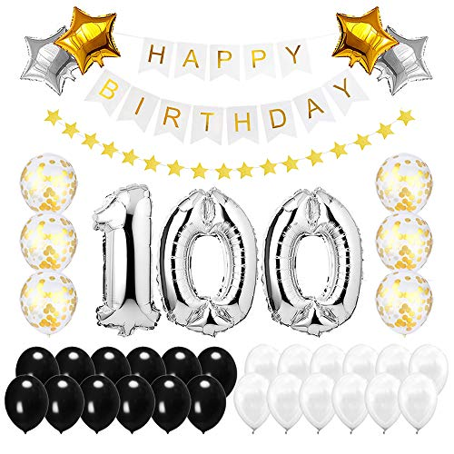 Best Happy to 100th Birthday Balloons Set - High Quality Birthday Theme Decorations for 100 Years Old Party Supplies Silver Black Gold]()