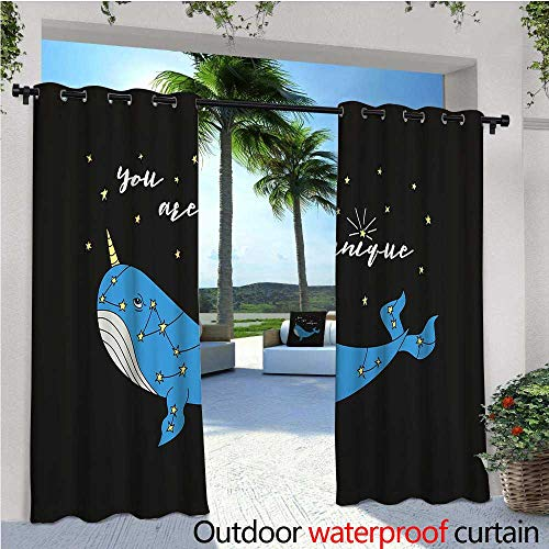 cobeDecor Narwhal Balcony Curtains Cute Hand Drawn Cartoon Character Star Patterned Narwhal with Inspirational Quote Outdoor Patio Curtains Waterproof with Grommets W72 x L84 Multicolor ()