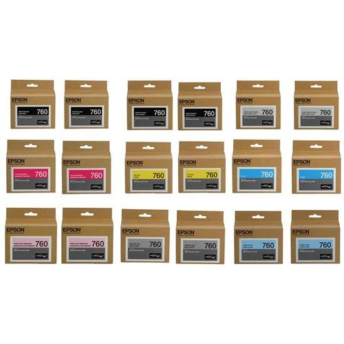 Epson T760 Ultrachrome HD Ink Cartridge Bundle Consists of 2x Photo Black / Cyan / Vivid Magenta / Yellow / Light Cyan / Vivid Light Magenta / Light Black / Matte Black / Light Light Black