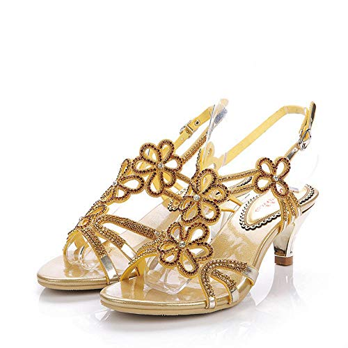 9319d80b9f0ae Sparrow All Match Comfortable Middle Heel Sandal Sandal Sandal Thin Heels 2  inches Beautiful Crystal Dance Shoes Gold Rhinestone... B07CTFND4V Shoes  302515
