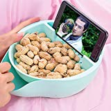 USDREAM Snack Serving Bowl with Phone Holder Double Layer Dish Nut Storage Container Organizer Box Perfect for Snacks, Fruit, Peanuts, Pistachio and Sunflower Seeds (Blue)