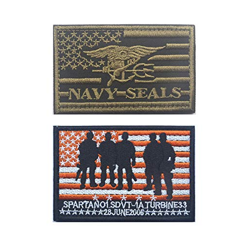 SOUTHYU 2 Pieces USA American Flag Navy Seals Team Tactical Morale Patches Embroidered Military Emblem Decorative Applique Badge, Hook and Loop Patch ()