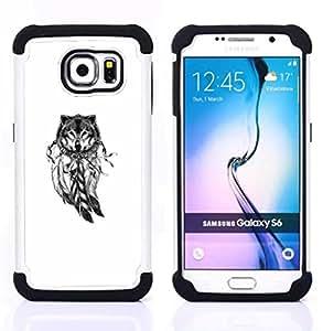 """Samsung Galaxy S6 / SM-G920 - 3 en 1 impreso colorido de Altas Prestaciones PC Funda chaqueta Negro cubierta gel silicona suave (Indian Dream Catcher Lobo Blanco Nativo"""")"""