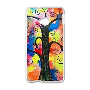 Love Tree of Wisdom - Retail Packaging Colorful Tree Pattern &Rainbow Custom Case for HTC One M7