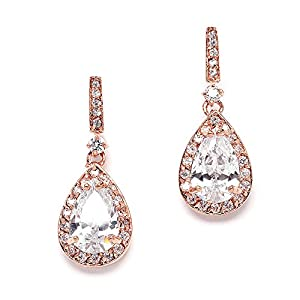 Mariell 14K Rose Gold Plated Cubic Zirconia Bridal Earrings with Pear Shape Drops - Our #1 Small Dangles