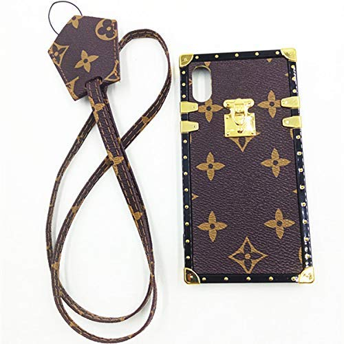 jiehao iPhone Xs Max Case, Vintage Elegant Luxury Designer Monogram PU Leather Back with Lanyard Soft Bumper Shock Absorption Trunk Case Protective Case for Apple iPhone Xs Max 6.5