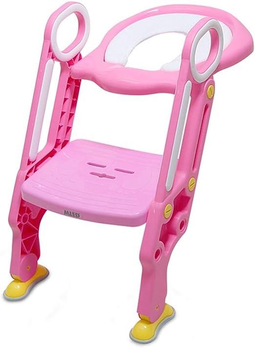 YFF-Asiento de Inodoro para bebés pequeños Pink Safe Stable Baby Potty Chair Adecuado para 1-7 años de Edad Boy Girl Plegable Seat Toilet Training Portable y Durable Niños Potty Seat con Escalera: