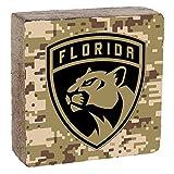"Rustic Marlin Designs NHL Florida Panthers, Camo Background, Team Logo Block, 6"" x 6"" x 2"""