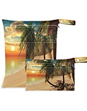 COZYHM Wet Dry Bags for Diaper Bag Sunset Hawaii Beach Palm Tree Cloth Diaper Hanging Wet Bags Waterproof Washable Organizer Pouch with Pocket for Travel Camping Beach