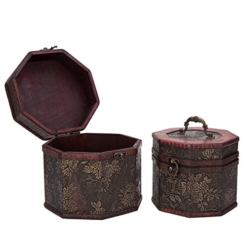 Vintage Style Embossed Flower Pattern Wooden Octagon Jewelry Treasure Box Storage Organizer Trinket Keepsake Chest Set of (Flower Box Keepsake Set)