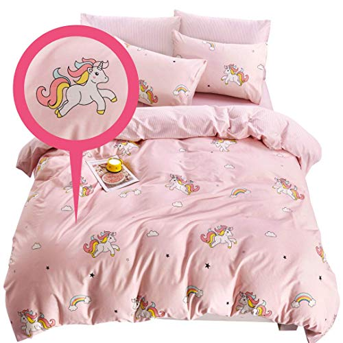ELLE & KAY Unicorns Duvet Cover Set/Unicorn Kids Bedding/ 100% Cotton Queen Zipper Bedding/Full Reversible Girls Comforter Cover/ 3 Piece Queen Duvet Cover Set.