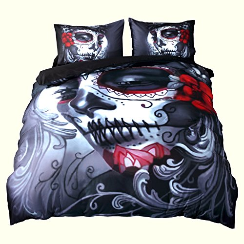 Home Decor Queen Size Duvet Cover Set by KTLRR,Melancholy Woman With Flowers Fantasy Gothic Mystery Halloween Picture,Bedding Set with Pillow Shams--No Comforter (King 3pcs, halloween)