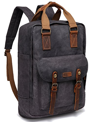 Canvas Laptop Backpack,VASCHY Vintage Waxed Canvas Anti-Theft Backpack for Men Fits 15.6inch Laptop Gray