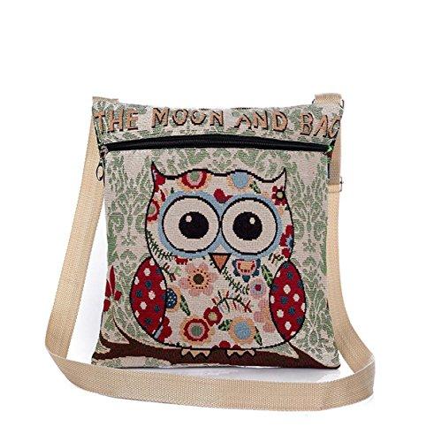 Shoulder Owl Bag Tote E Women Yuan Embroidered Bags Handbags Linen 67vwqAx