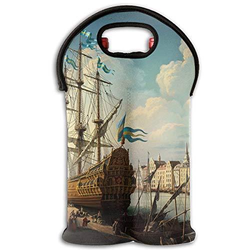 18th Century Ships Landscape 2-Bottle Wine Carrier Tote Bag Traveling Wine/Water Bottle Handbag With Carry Handle Two Bottle Drinks Beer Holder