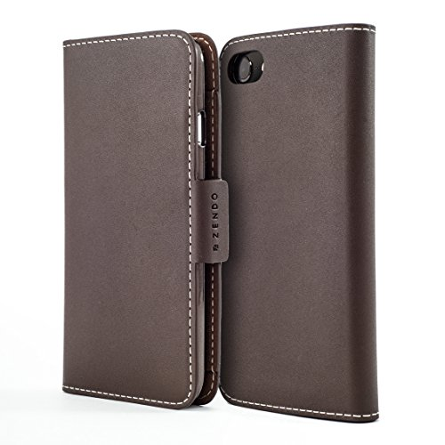 Zendo iPhone 8 Plus / 7 Plus Leather Wallet Case (European Leather) with Card Slots, Magnet, Stand Function, Wrist Strap | Kaiga Leather flip Cover case [iPhone 8 Plus/7 Plus -