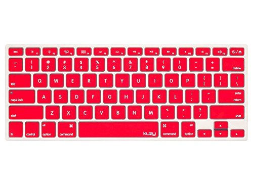 Kuzy RED Keyboard Cover Silicone Skin for MacBook Pro 13 15 17 (with or w/out Retina Display) iMac and MacBook Air 13 - Red
