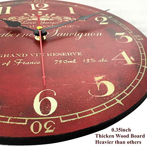 12 Inch Thick Wood Wall Clock Vintage Red Home Decorative Analog Clock for Bedroom Living Room Kitchen Cafes Office,Silent Battery,Non Ticking