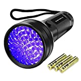 Vansky® 51 LEDs Blacklight Flashlight Pets Ultra Violet Urine and Stain Detector,Find Dry Stains on Carpets, Rugs, Floor. 3 x AA Batteries Included