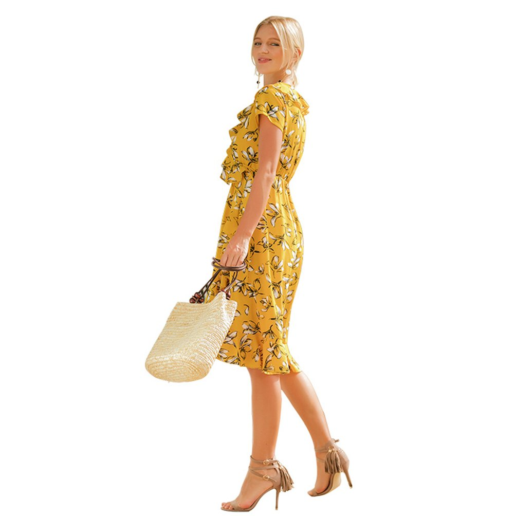 21b01a3411a3 Amazon.com  Summer Dresses Women Elegant Yellow Beach Dating Casual Sexy  Floral Knee Length Dress  Clothing
