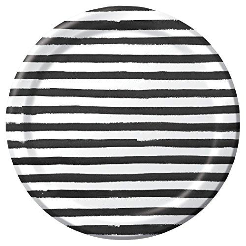 Black Stripe White Plate (Creative Converting 8 Count Striped Licorice Round Premium Paper Banquet Plates, Black/White, 11
