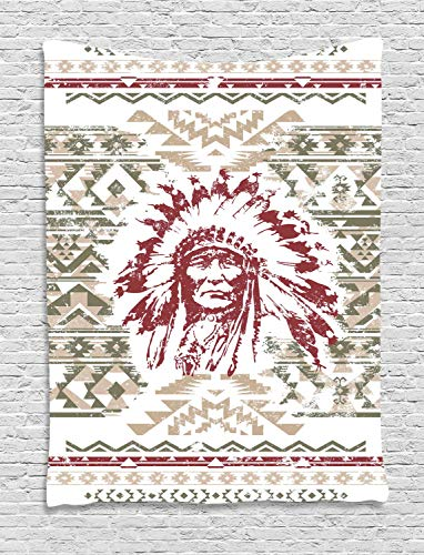 - Ambesonne Art Tapestry, Retro Style Eagle Heart Chief Trail Grunge Effect and Geometric Motif, Wall Hanging for Bedroom Living Room Dorm Decor, 40