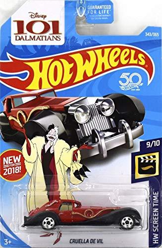 Hot Wheels 2018 50th Anniversary HW Screen Time Disney's 101 Dalmations Cruella De Vil 343/365, Red -