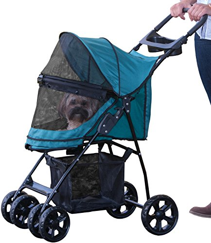 Pet Gear No-Zip Happy Trails Lite Pet Stroller for Cats/Dogs, Zipperless Entry, Easy Fold with Removable Liner, Storage Basket + Cup ()