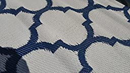 Santa Barbara Collection 100% Recycled Plastic Outdoor Reversable Area Rug Rugs White Navy Blue Trellis san1001Blue 5\'11 x 9\'3 - Made in USA