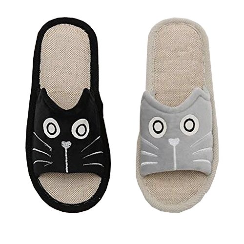 House Slippers DKKK Summer Rubber Linen Toe Sole Non Cute Women's Open Animal Grey Slip Sandals q7Xr7wtR