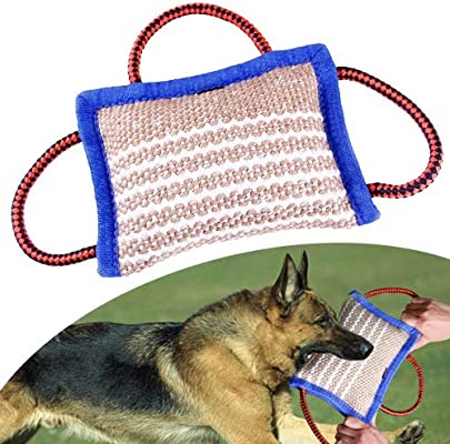 Tug Toy Interactive Dog Bite Training Pillow Tug with 2 or 3 Handles 3 Sizes