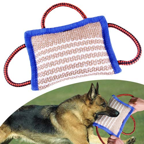 Rolkstone Dog Bite Tug Toy for Large Dogs - Interactive Pull Toy with 3 Strong Handle for Large Breed - Juty Bite Pillow for Heavy & Active Biting - Dogs Training Equipment