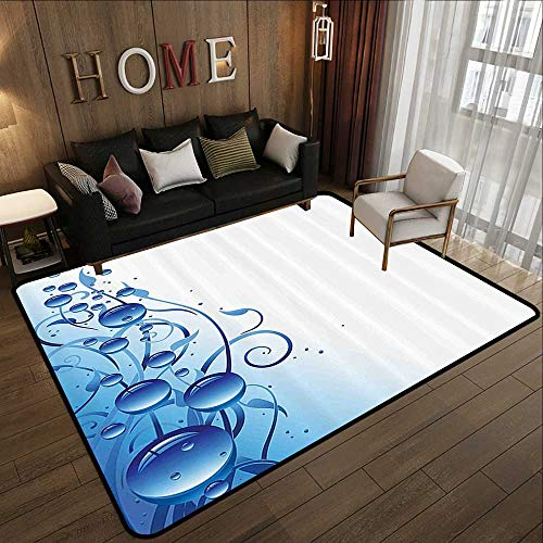 Multi-Color Modern Area Rug,Abstract,Purity Symbol Liquid Water Drops Branch Mystic Nature Bubbles Eco Artful Image,Violet Blue 78.7