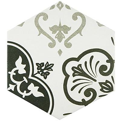 "SomerTile FCD10FMX Fantazia Hex Porcelain Floor and Wall Tile, 8.625"" x 9.875"", Grey/White"