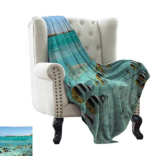 BelleAckerman Throw Blanket Ocean,Blacktip Reef Shark Chasing Butterfly Fish Lagoon of Bora Bora Tahiti,Aqua Yellow and Black for Bed & Couch Sofa Easy Care 30
