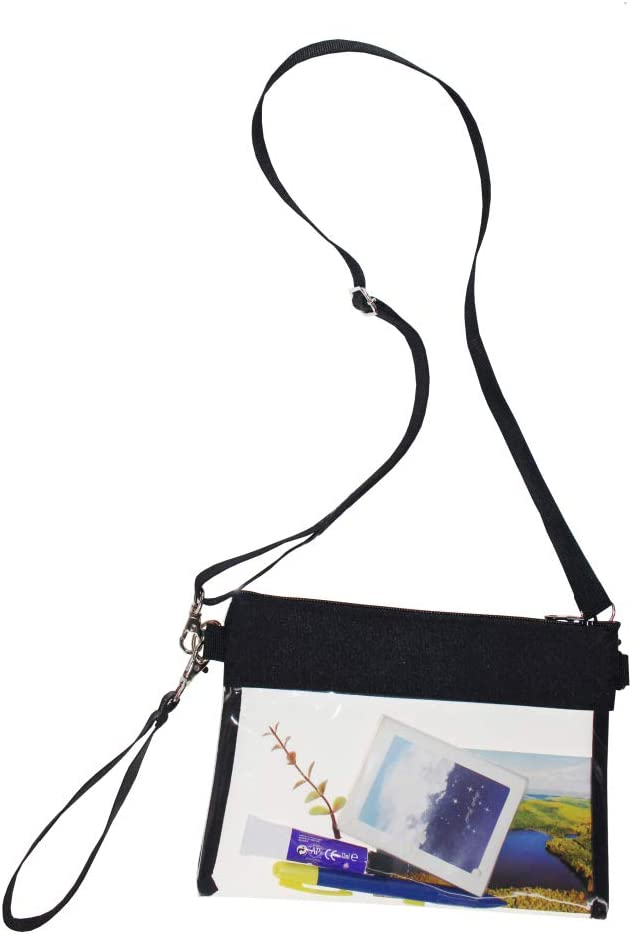 HTLCMMT Clear Purse, Clear Crossbody Bag NFL Stadium Approved Transparent Shoulder Bag See Through Gym Zippered Tote Bag for Concerts Work Sporting Event (Black)